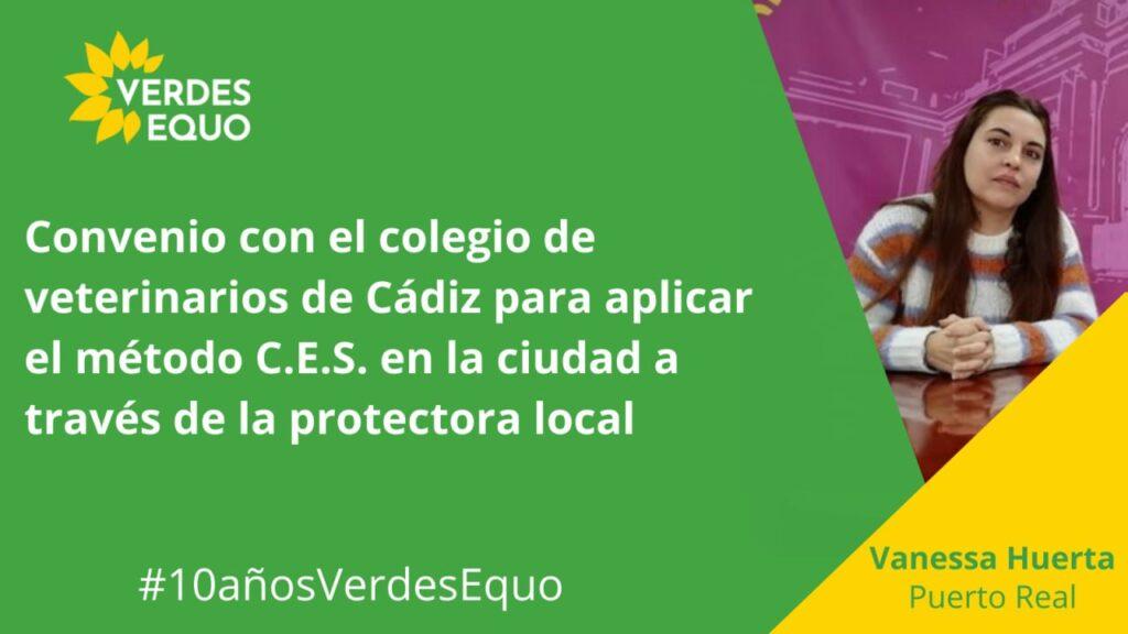 Imagen con la concejal de Verdes Equo en Puerto Real, Cádiz: Vanessa Huertas
