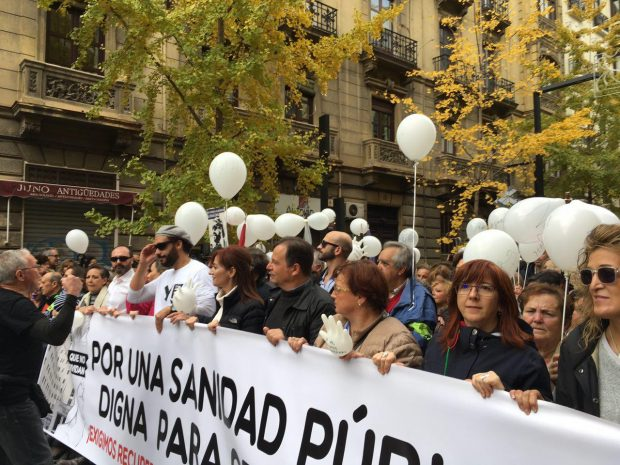 Cabecera de la manifestación celebrada este domingo en Granada.