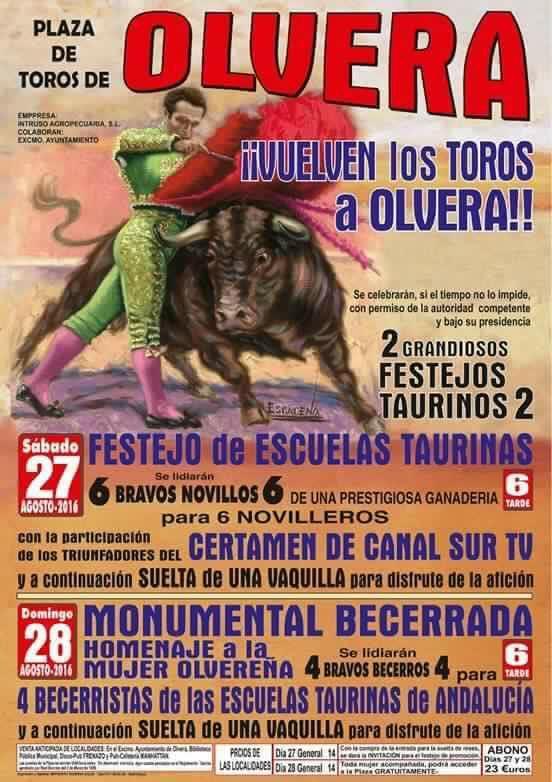 Cartel del último espectáculo de este tipo previsto en Olvera.