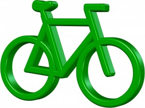 Dibujo de una bici de color verde