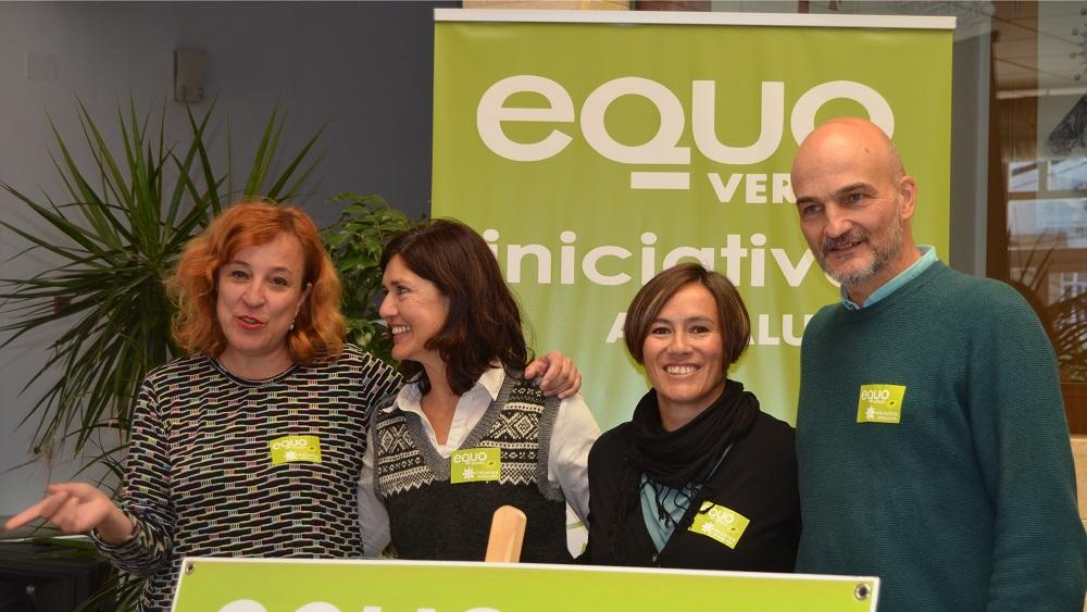 Foto de Carmen Molina, Encarna Paez. Inma del Pino y Esteban de Manuel en Herrera, presentando EQUO VERDES - INICIATIVA ANDALUCÍA