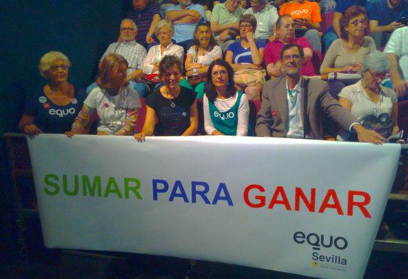 Miembros de EQUO Andalucía en el acto de este jueves.