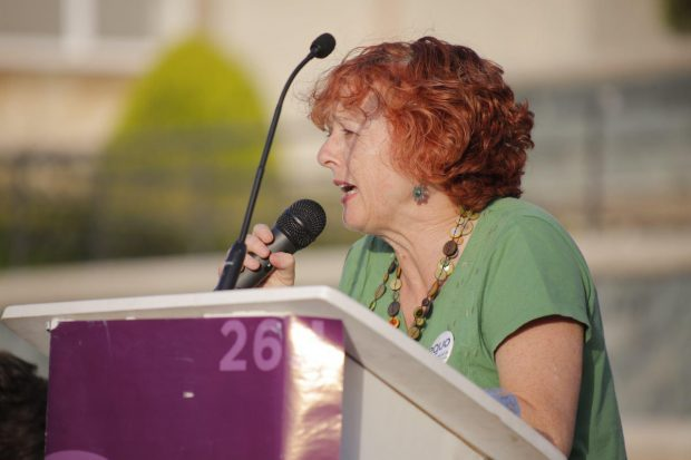 Nuestra compañera Concha San martín durante su intervención en Linares.