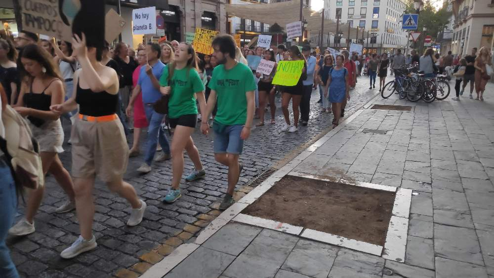 Foto manifestación emergencia climática y alcorque sin árbol