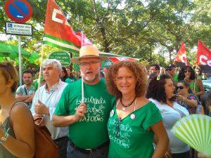 La coportavoz de EQUO Sevilla, Mar Oliver, en una de las últimas protestas contra los recortes en Educación.