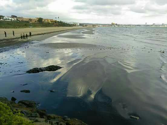 El vertido de crudo ha llegado a la playa./ Foto cedida por Agadén
